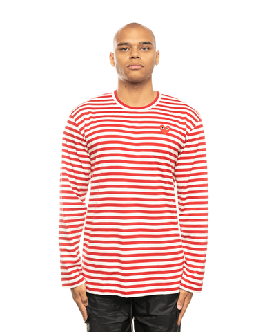 CDG PLAY AZ-T164-051 Red Heart Patch Striped LS Tee Red Stripes