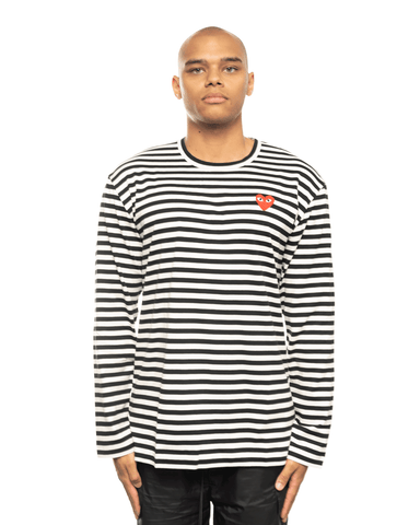 CDG PLAY AZ-T164-051 Red Heart Patch Striped LS Tee Black Stripes