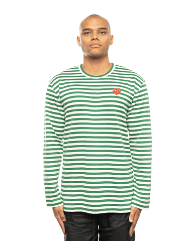 CDG PLAY AZ-T164-051 Red Heart Patch Striped LS Tee Green Stripes