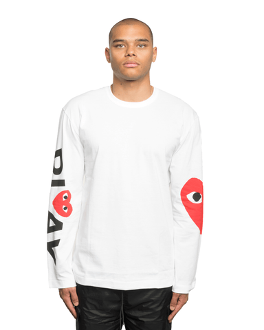 CDG PLAY Single Side Heart LS Tee White
