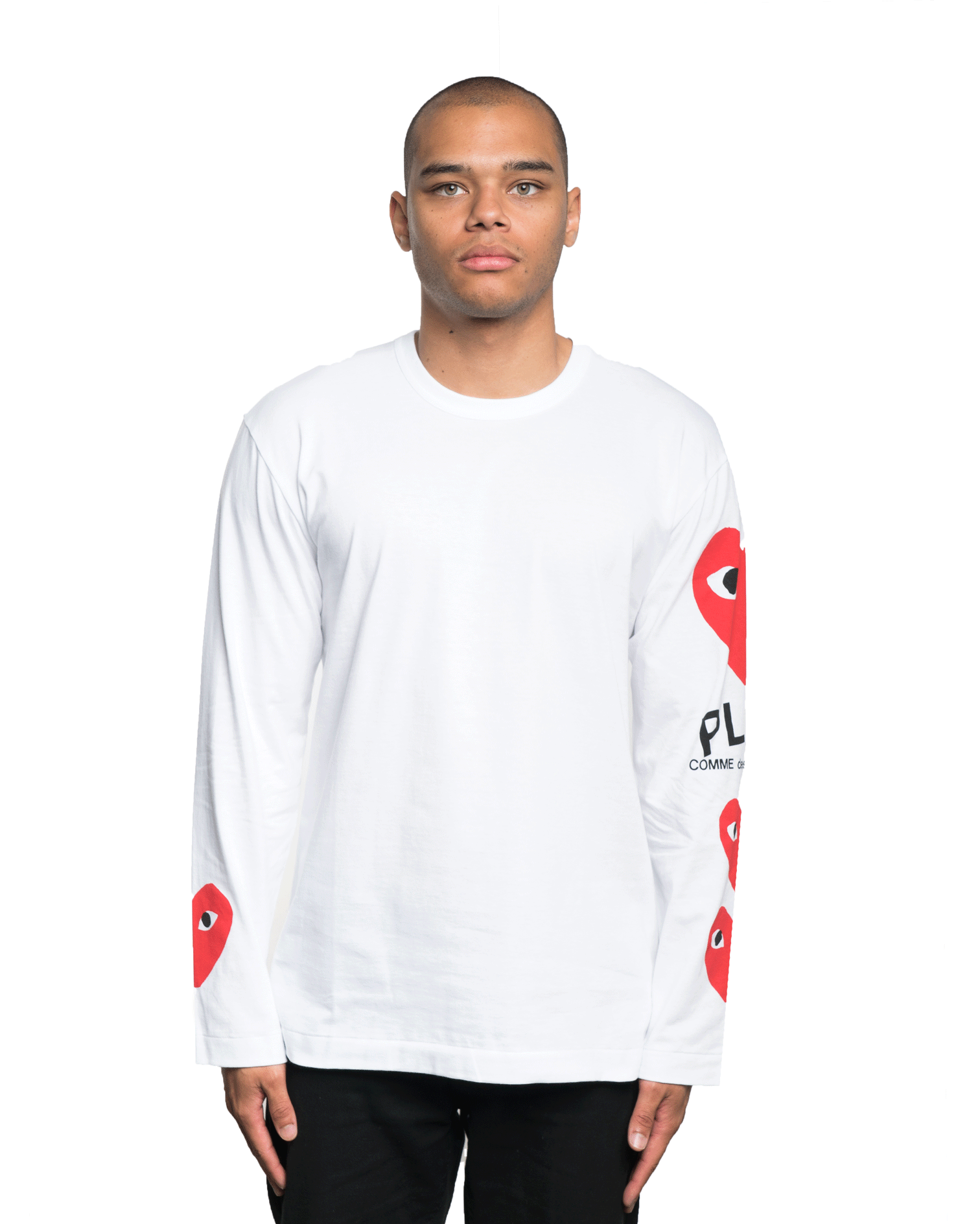CDG PLAY Heart Logo Side LS Tee White