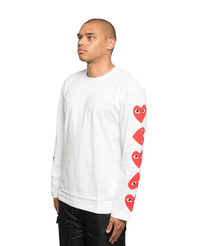 CDG PLAY Multi Heart Sleeve LS Tee White