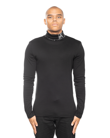 MJB Bat Turtle Neck LS Tee Black
