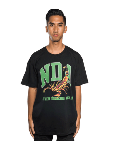 Never Drinking Again Scorpion Tee Black