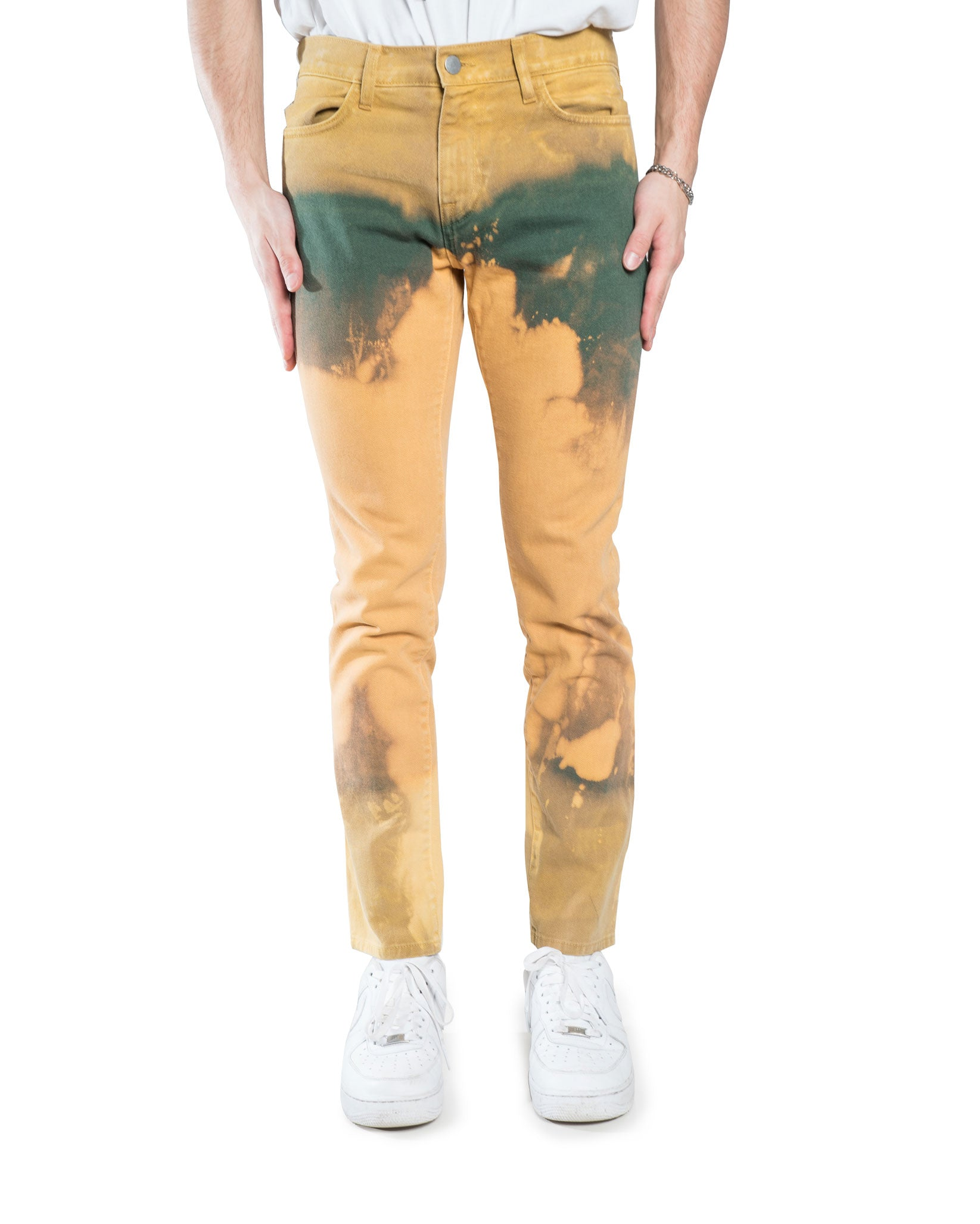 424 Reworked Bleached Denim Pant Green