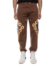 GCDS 3D Logo Sweatpants Brown