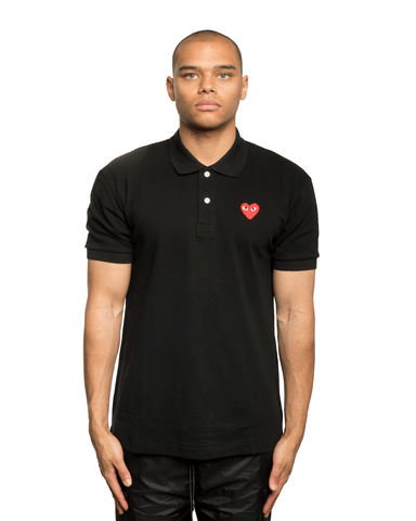CDG PLAY Red Heart Patch Polo Shirt Black