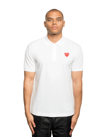 CDG PLAY Red Heart Patch Polo Shirt White
