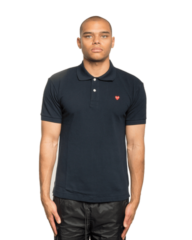 CDG PLAY Mini Red Heart Patch Polo Shirts Navy
