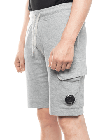 C.P. Company Garment Dyed Light Fleece Lens Shorts Grey