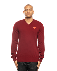 CDG PLAY AZ-N002-051 Red Heart Patch Sweater Burgundy