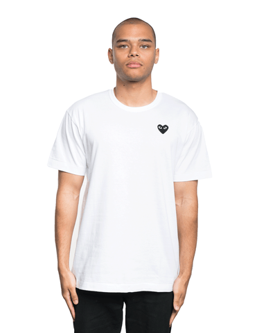CDG PLAY Black Heart Patch Tee White
