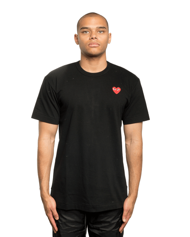 CDG PLAY Red Heart Patch Tee Black