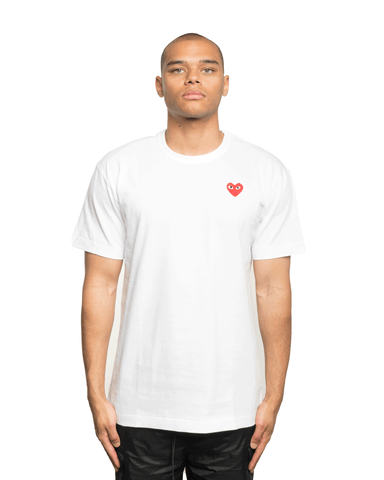 CDG PLAY Red Heart Patch Tee White