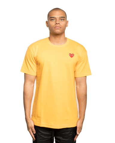 CDG PLAY Small Red Heart Tee Yellow