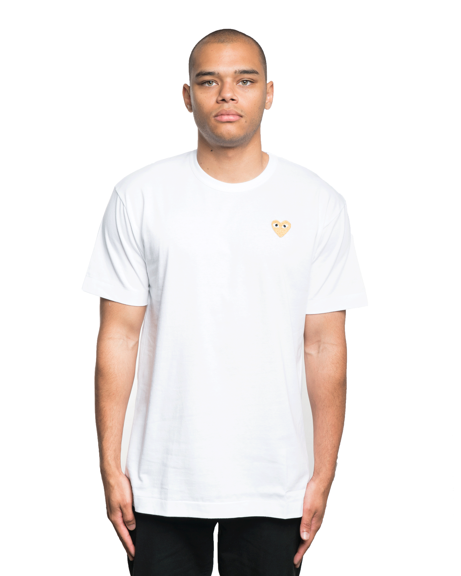 CDG PLAY Gold Heart Patch Tee White
