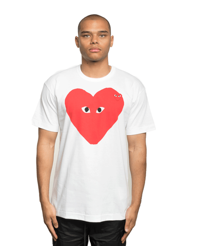 CDG PLAY Big Red Heart Small Heart Tee White