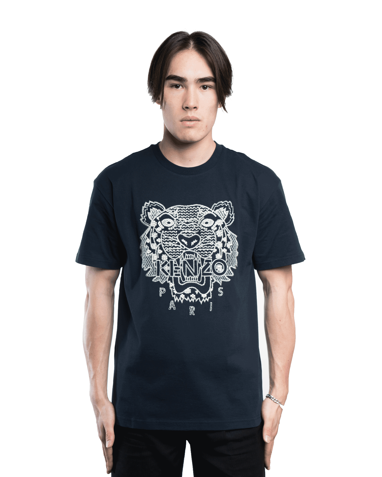 Kenzo Tiger Embroidered Tee Midnight Blue