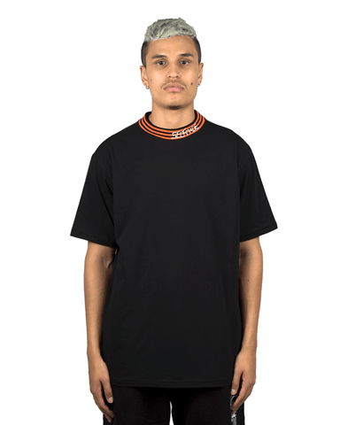 Striped High Collar Tee Black