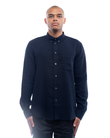 Wood Wood Andrew Cotton Linen Shirt Navy