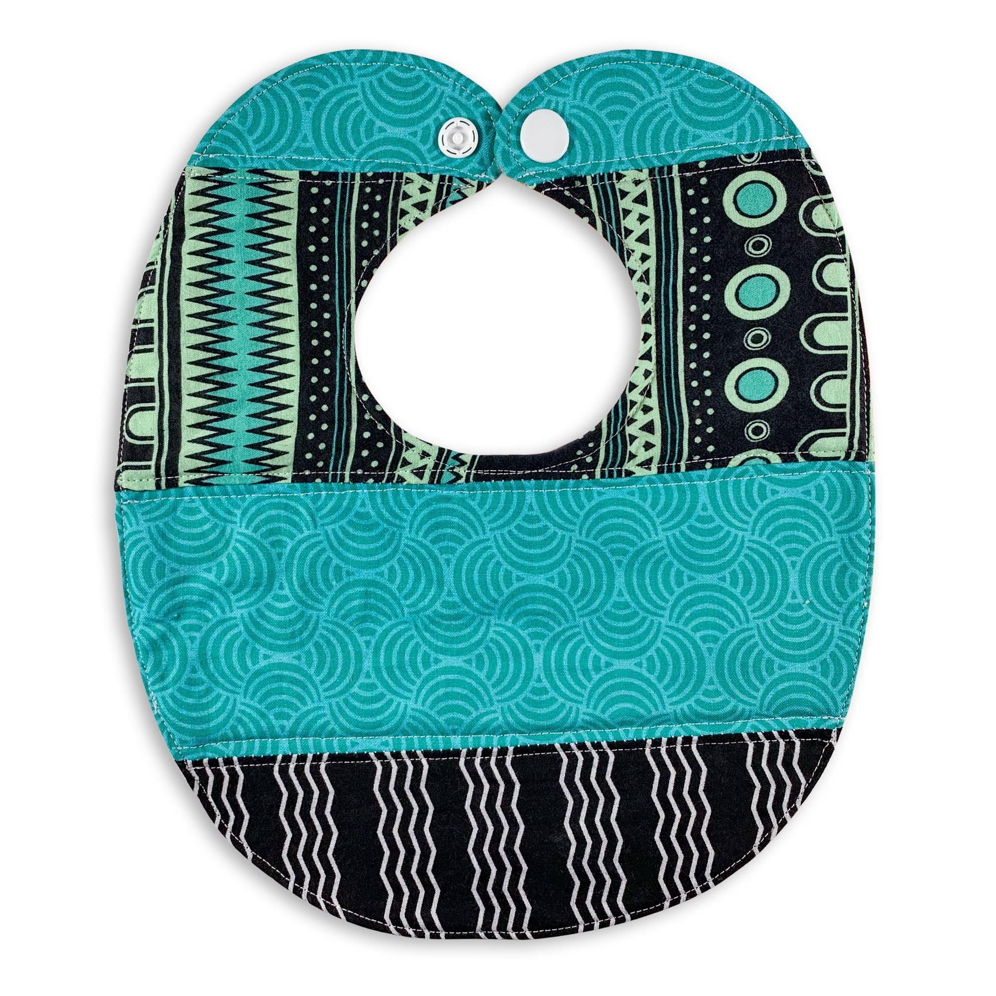 Dots, Stripe, Squiggle in Blue Bib