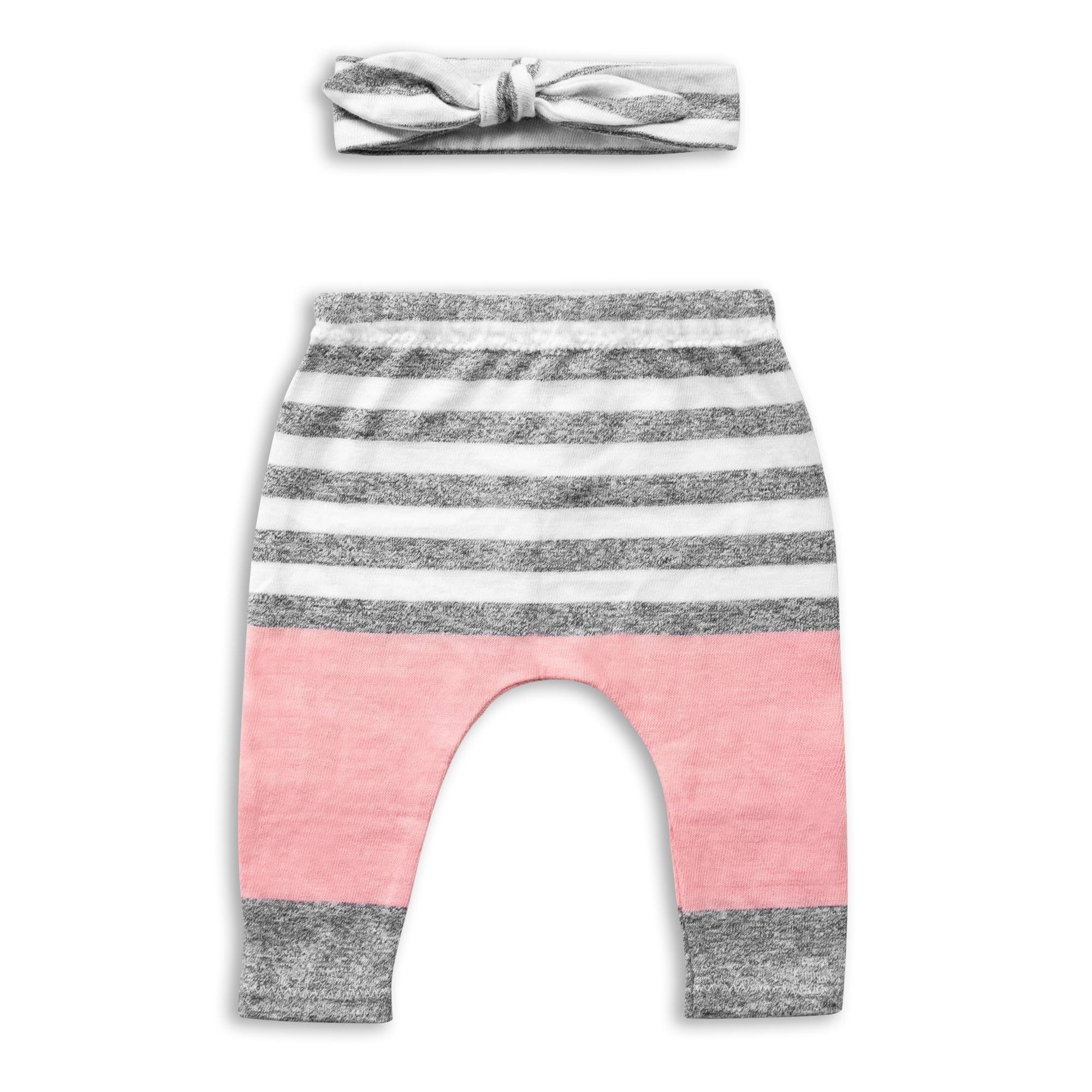 Pink And Grey Striped Pants & Bow Set