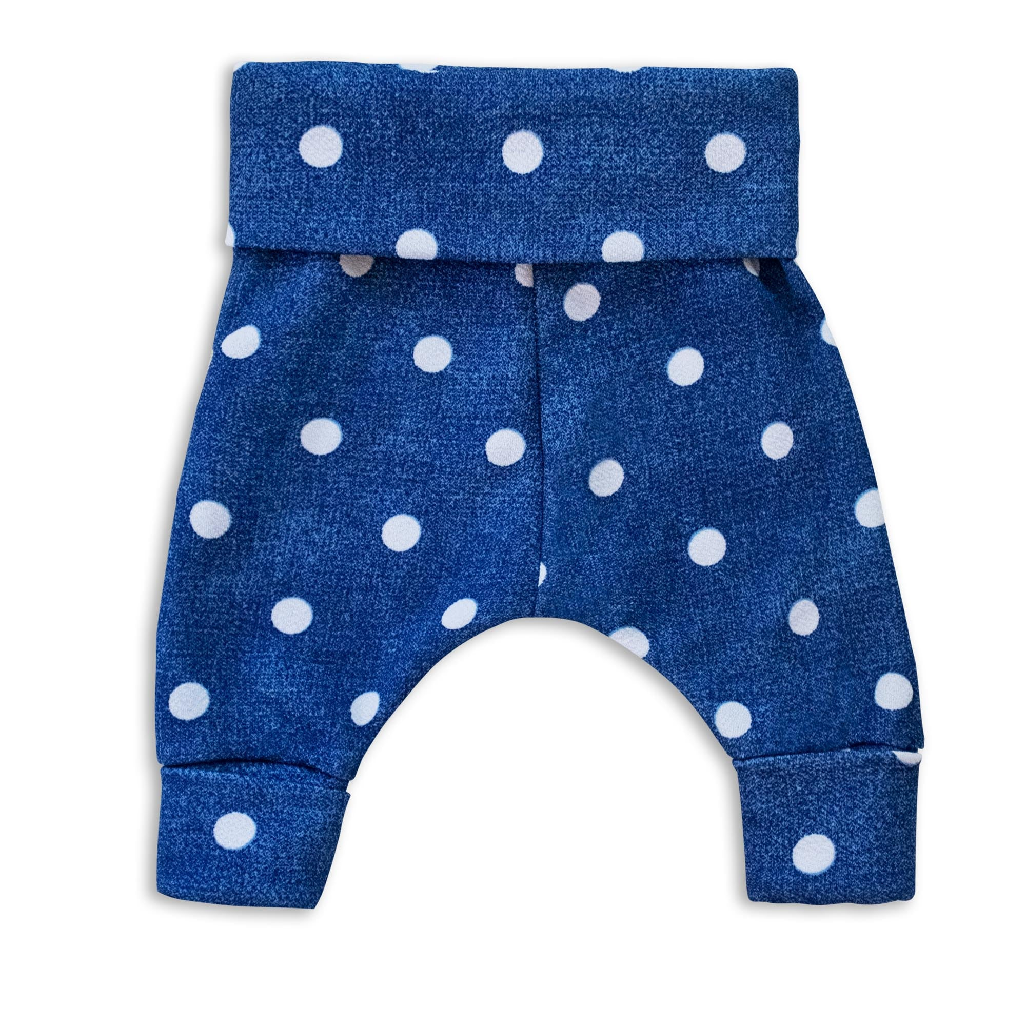 Denim Polka Dot Harem Pants