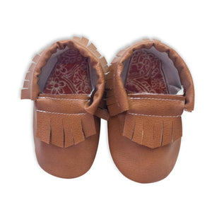 Brown Moccasins with Pink Lining