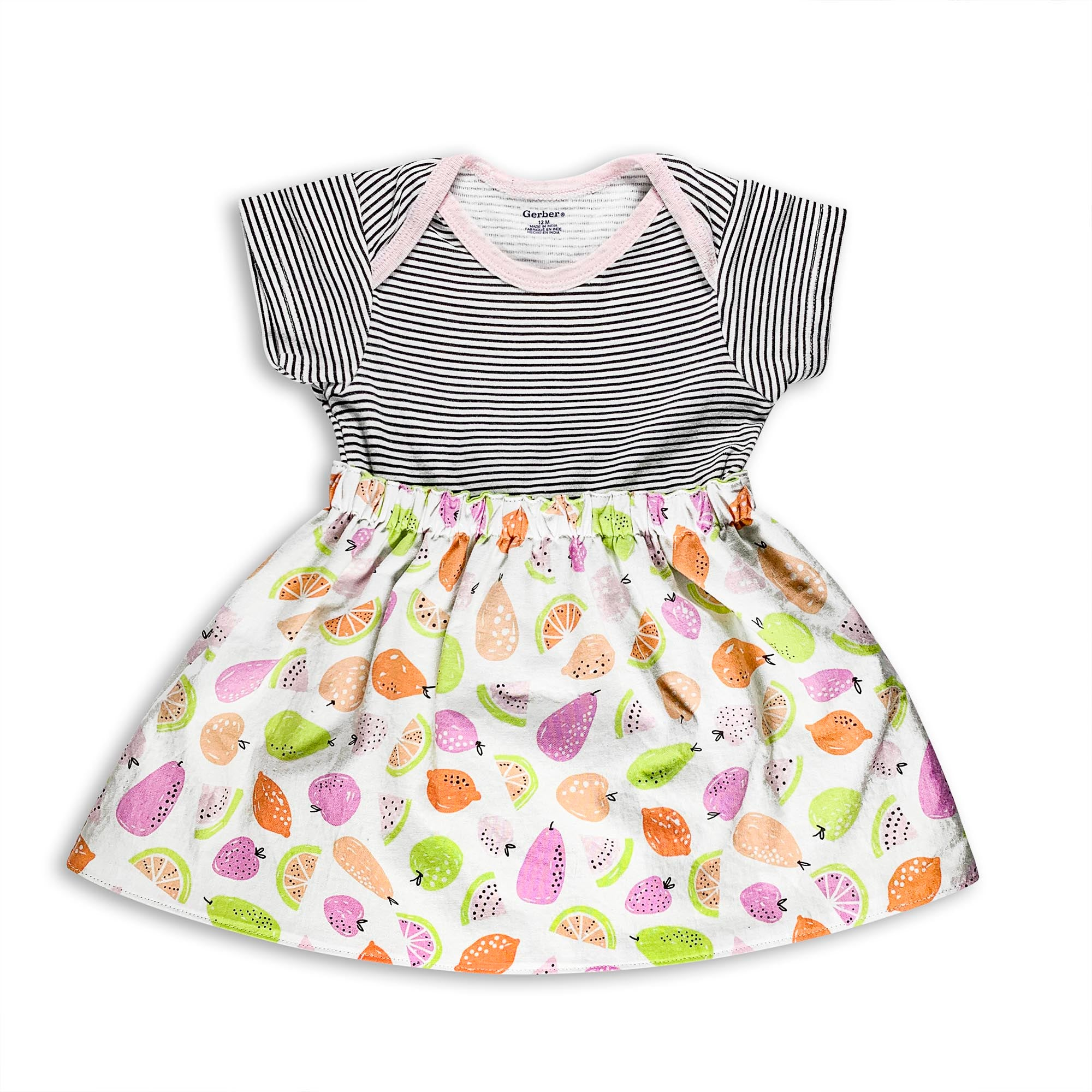 Fruit Cocktail Skirt with Striped Onesie Set