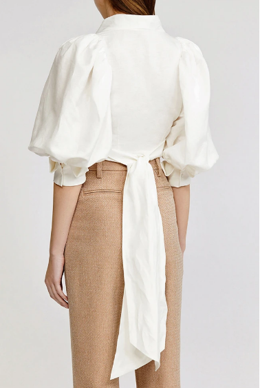 Acler Top Corsica Wrap Top, Ivory Soho-Boutique