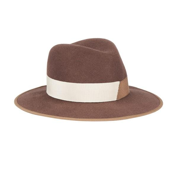 D'ESTREE Hat Christopher Bicolor Taupe Fedora Soho-Boutique