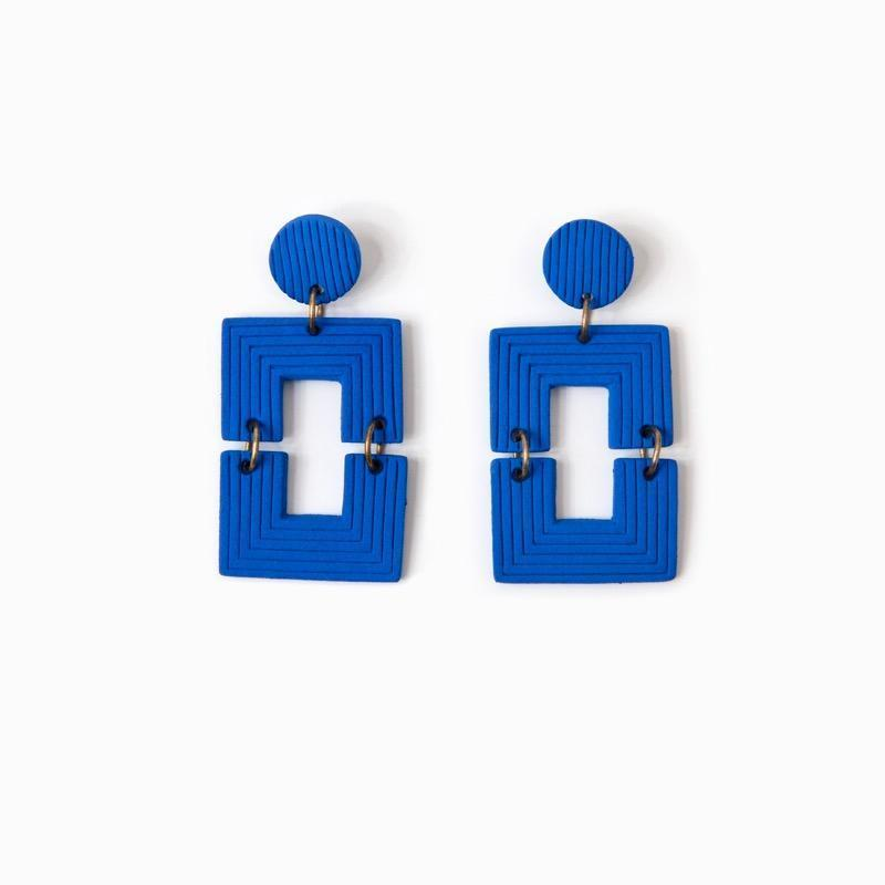 Her New Tribe Earrings Clay & Brass Posts .012, Cobalt Soho-Boutique
