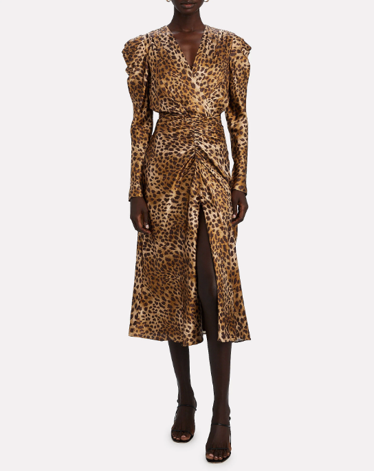 JONATHAN SIMKHAI Dress Maisie Midi Dress, Camel Leopard Soho-Boutique