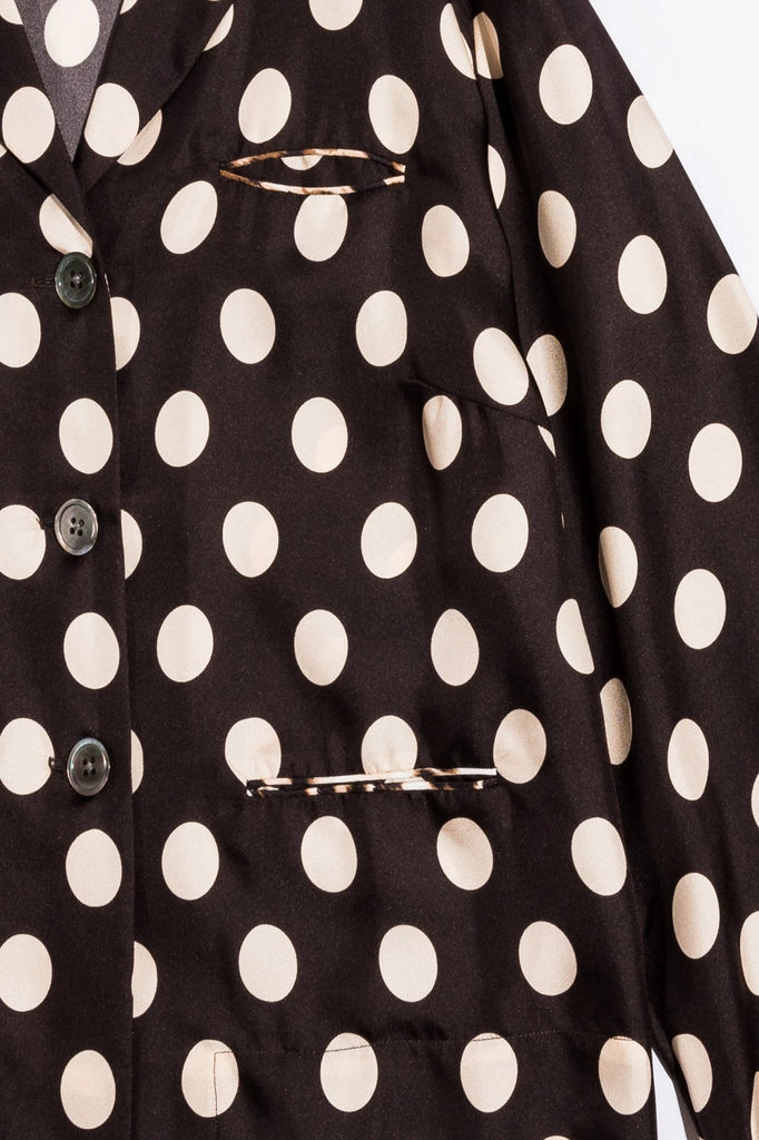 La Prestic Ouiston Blouse Pois Noir Pyjama Top Soho-Boutique