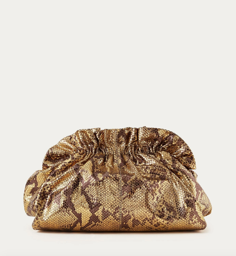 Loeffler Randall Bag Loretta Gathered Clutch, Dark Gold Soho-Boutique