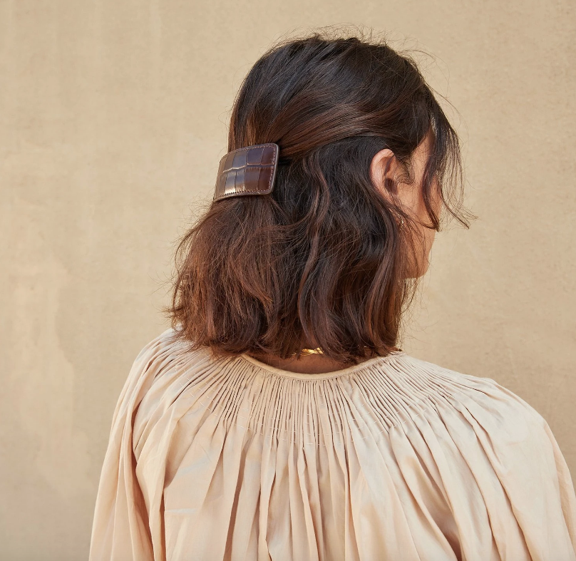 Loeffler Randall Hair Accessory Wren Leather Barrette, Chocolate Soho-Boutique