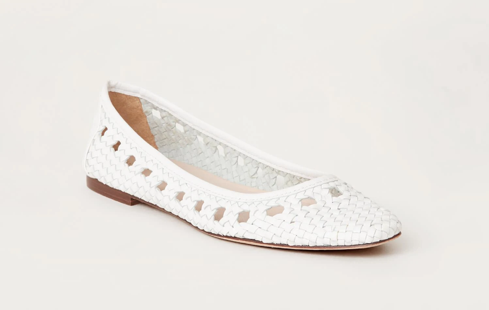Loeffler Randall Shoe Maura Woven Leather Ballet Flat, Optic White Soho-Boutique