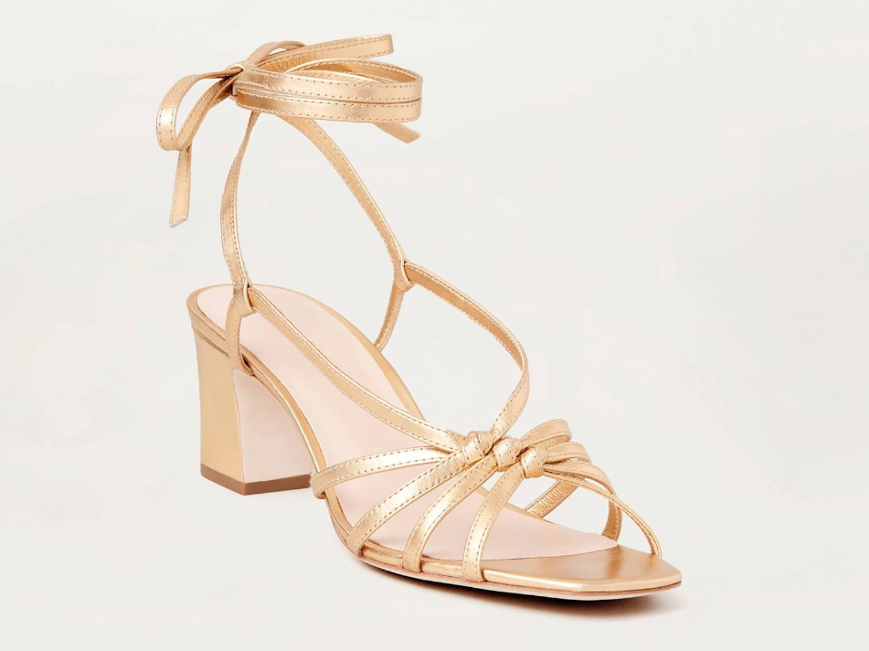 Loeffler Randall Shoes Libby Knotted Wrap Heel Sandal, Gold Soho-Boutique