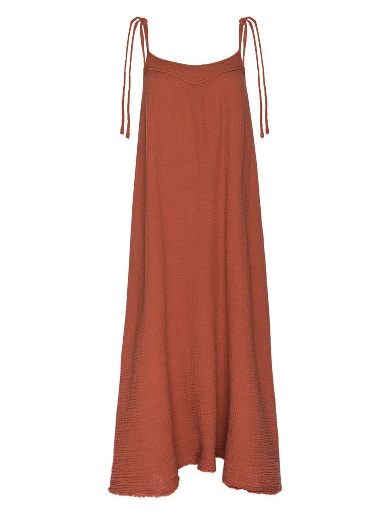 NATION LTD Dress Nava Tie Strap Midi, Paprika Soho-Boutique