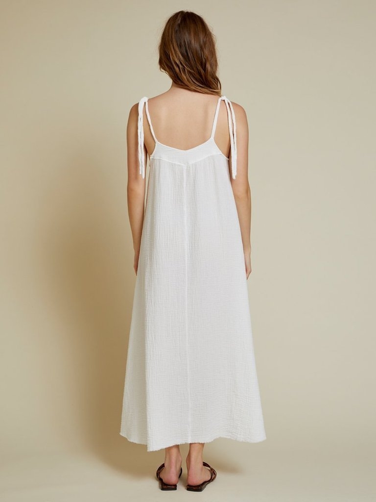 NATION LTD Dress Nava Tie Strap Midi, White Soho-Boutique
