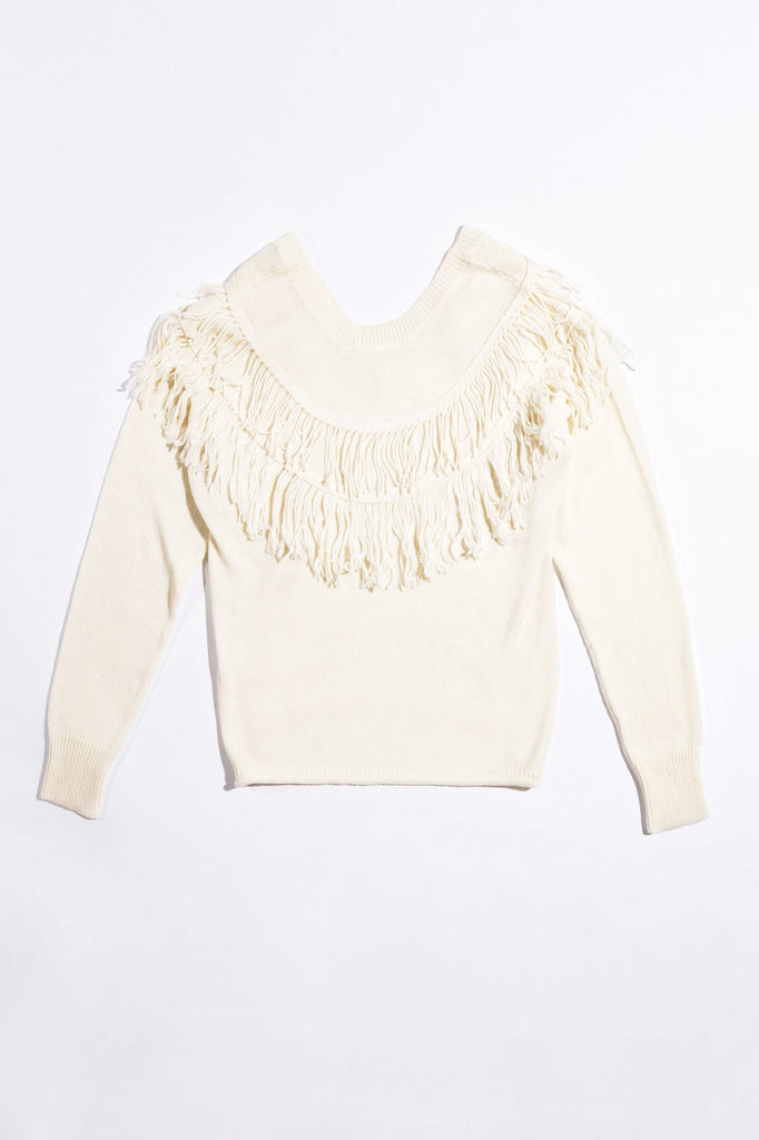 NATION LTD Sweater Kiki Fringed Oversized V Back, Creme Soho-Boutique
