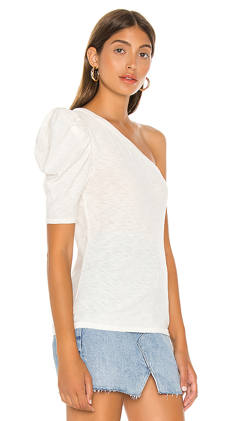 NATION LTD T-Shirt Paulina One Shoulder Tee, White Soho-Boutique