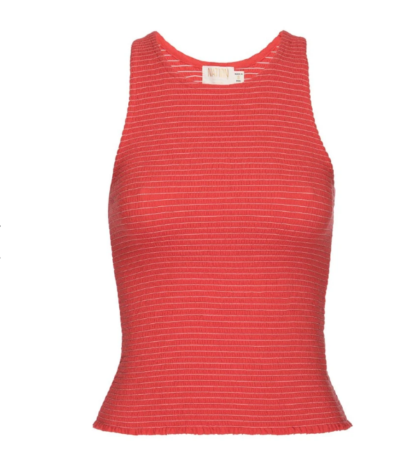NATION LTD Tank Summer Smocked Tank, Chili Soho-Boutique