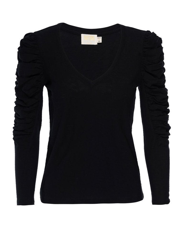 NATION LTD Top Kristen Ruched Sleeve V-Neck, Jet Black Soho-Boutique