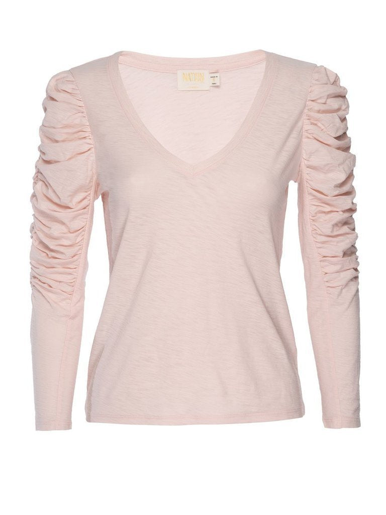 NATION LTD Top Kristen Ruched Sleeve V-Neck, Porcelain Soho-Boutique