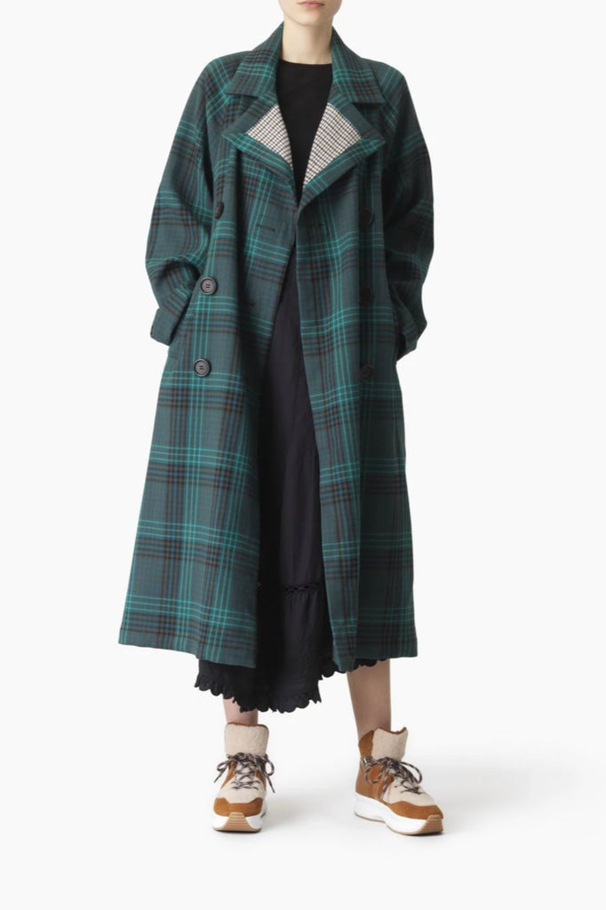 See By Chloe Coat Green Plaid Trench Soho-Boutique