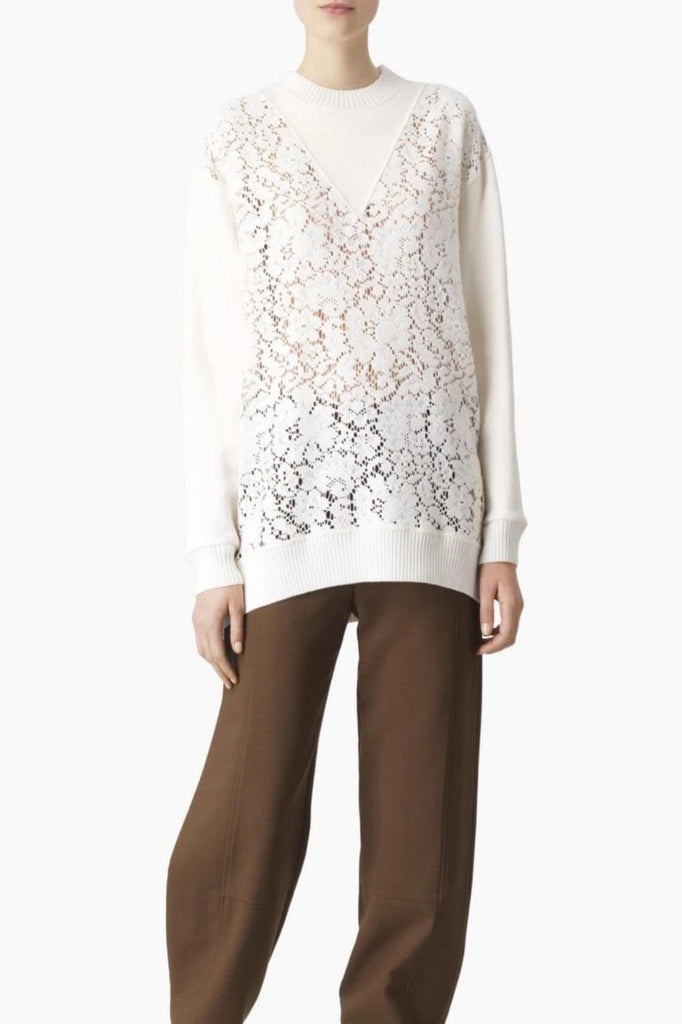 See By Chloe Pullover Embellished Lace Pullover, Crystal White Soho-Boutique