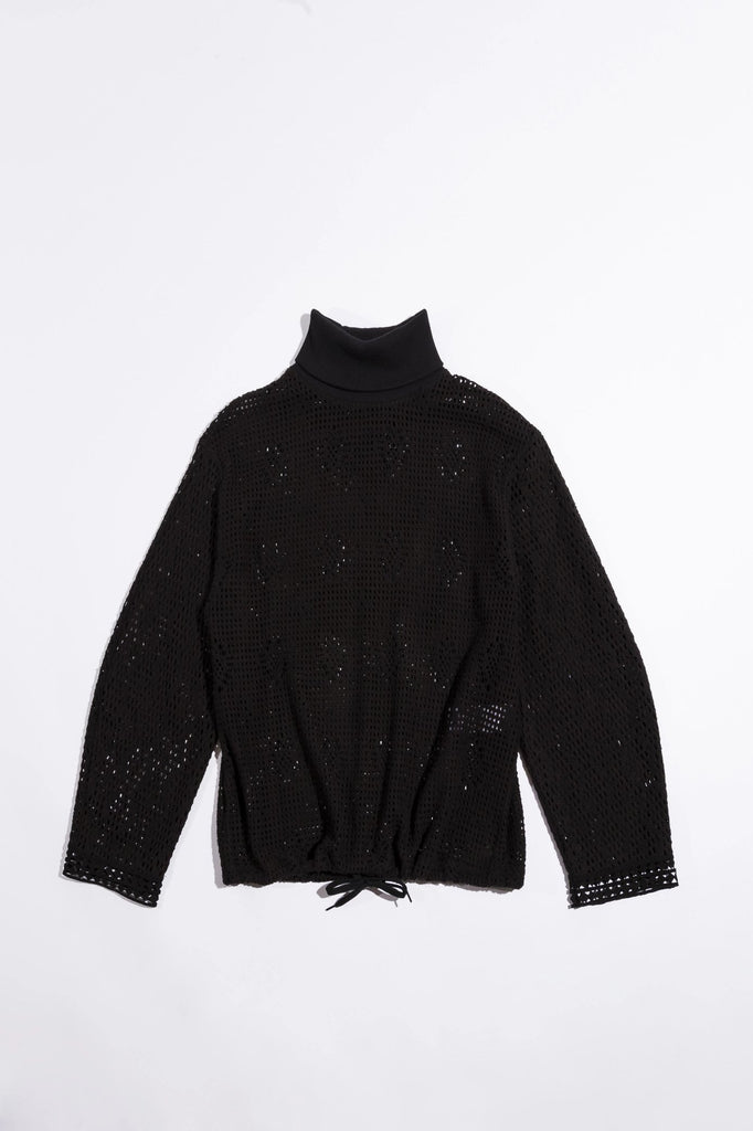 See By Chloe Sweatshirt Knit Turtleneck Sweater, Black Soho-Boutique