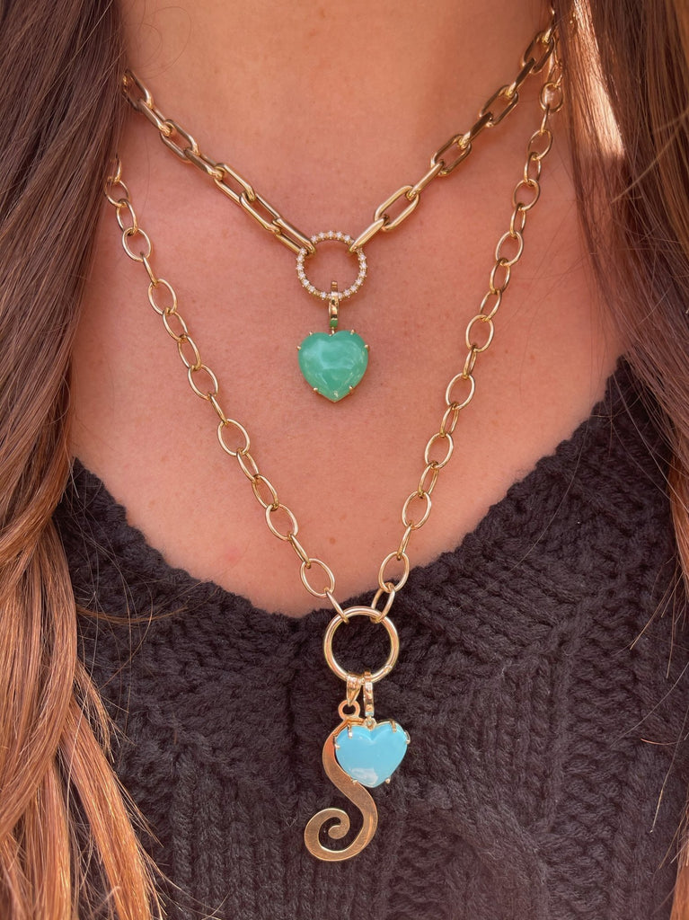 SHYLEE ROSE Necklace Toggle Chain w/ Solid Gold Charm Ring Holder Soho-Boutique