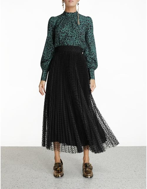 Zimmermann Skirt Lucky Pleated Ballet Skirt, Black Soho-Boutique